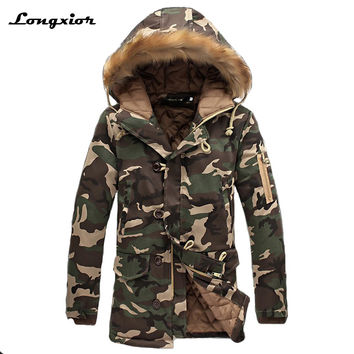 L16 Fashion camouflage parkas men military medium-long winter coat men thickening cotton-padded winter jacket men with fur hood