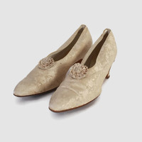 Vintage Victorian HEELS / 1900s Ivory SILK Brocade Wedding Shoes Slippers 6