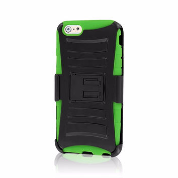 For iPhone 6 Plus 6S Plus 7 Plus Kickstand Rugged Impact Case with Holster Green