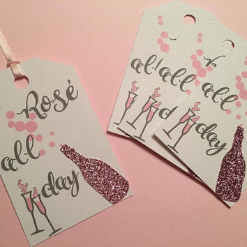 Rosé All Day Tags | Bottle Tags | Party Favor Tags | Bridal Shower