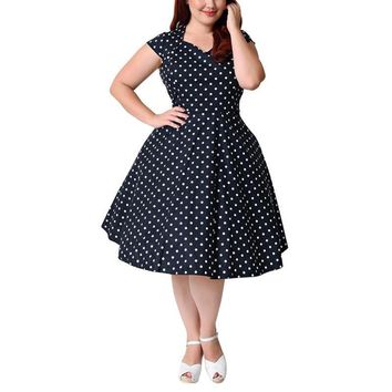 lucille Swing Plus Size Dress Polka Dot Women Party midi retro vintage rockabilly Clothing navy blue