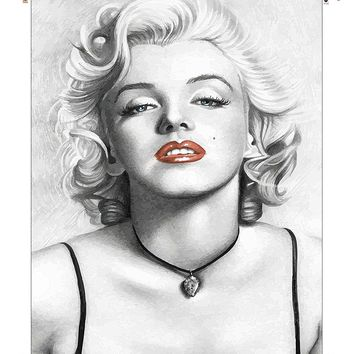 Marilyn Monroe Red Lipstick Picture on Canvas Hung on Copper Rod, Ready to Hang, Wall Art Décor