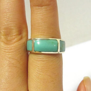 Vintage Sterling Silver Inlay Natural Turquoise Band Ring Size 6.75