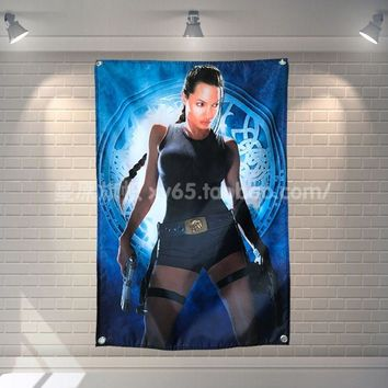 """Tomb Raider Angelina Jolie"" Movie Banners Hanging Flag  Poster Wall Sticker Restaurant locomotive club Live Background Decor"