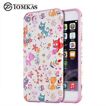 Tomkas Cover For iPhone 6 6s Case Cute Cartoon Lovely Fashion Soft TPU Back Cover Cat Silicone Case For iPhone 6 / 6s Plus Coque