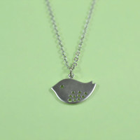 Lovely Bird Necklace, Rhodium Plated Brass Pendant, Delicate Chain, Everyday Wear, Perfect Gift