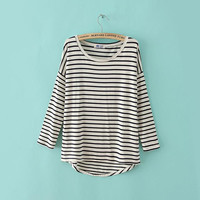 Casual Striped Asymmetrical Long Sleeve Sweat Shirt