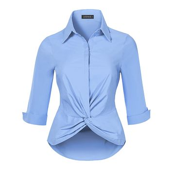 Ultra Stretchy Twist Front 3/4 Sleeve Collared Button Down Shirt Top