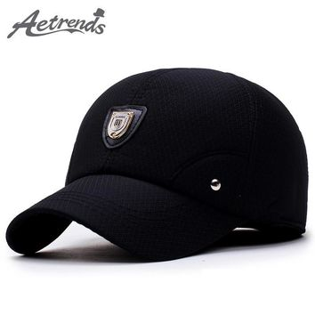 Trendy Winter Jacket [AETRENDS] Winter Dad Hat Men Baseball Cap with Ears Protection 2018 Black Custom Logo Branded Baseball Caps Gorras Z-5924 AT_92_12