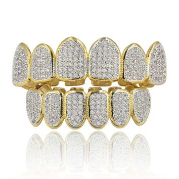 Gold Silver Plated Hip Hop Teeth Grill All Iced Out CZ Stone Micro Paved Men Women's Top & Bottom Grills Set