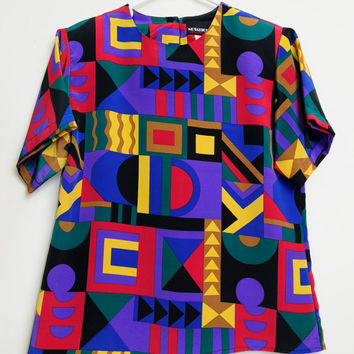 Awesome Vintage 80s/90s Aztec Art Abstract Tribal Short Sleeve Shirt
