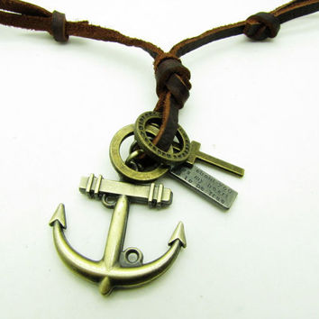 soft leather necklace,metal anchor pendant men leather long necklace, women leather necklace   XL134