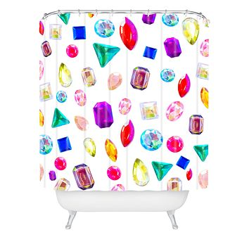 Natalie Baca Rhinestone Reverie In White Shower Curtain