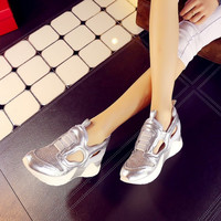 Summer Leather Hollow Out Platform Thick Crust With Heel Flat Shoes [4920624644]