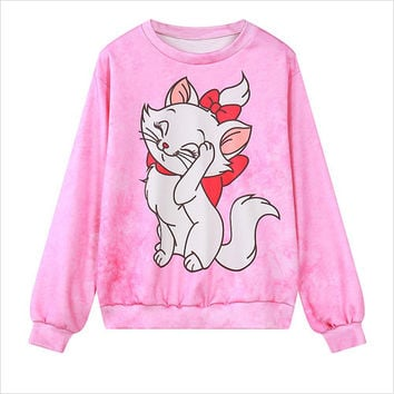 Pink Marie Cat Print Casual Sweatshirt