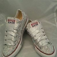 SALE White Low Ox Glass and Pearl Crystal Rhinestone Converse Bling, Sparkle Bride, Wedding, Prom, Party Shoes/Trainers