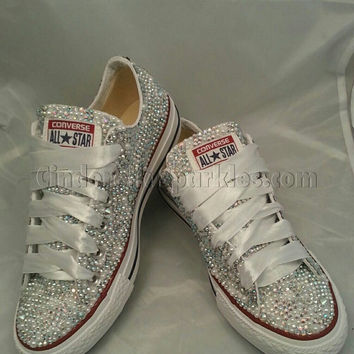 SALE White Low Ox Glass and Pearl Crystal Rhinestone Converse Bl 28ba8bb9c