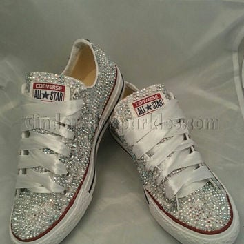 SALE White Low Ox Glass and Pearl Crystal Rhinestone Converse Bl. Shoes ... 232ad4f66