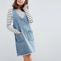 Monki V Neck Denim Dress at asos.com