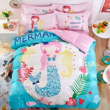 Mermaid Wishes Kids Pink Duvet 4PC Bedding Set