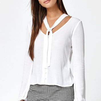 Kendall and Kylie Tie Neck Button-Down Top at PacSun.com
