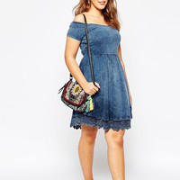 ASOS CURVE Off Shoulder Skater Dress In Acid Wash With Lace Hem