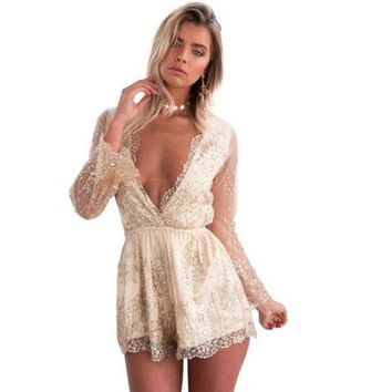 Shinny Sequins Women Romper Sexy Deep V-neck Glitter Drilling Mesh Long Sleeve Bodysuits Playsuit Rompers