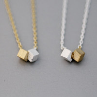Double Cubes/ Squares with mixed Gold&Silver Necklace -  Available Chain color as listed ( Gold, Silver )