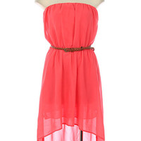Secret Garden Hi-Low Dress - Coral
