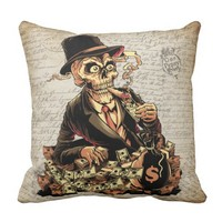 Skull With A Lot Of Money Vintage Style Throw Pillow