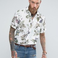 ASOS Regular Fit Viscose Shirt With Japanese Floral Design at asos.com