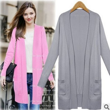 2016 Trending Fashion Knit Women Slim Long Sleeve Outerwear Jacket