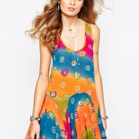 Spiritual Hippie Low Back Tank Dress With Festival Tye Dye Print