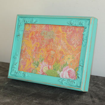 Distressed turquoise 5 x 7 wood picture frame - Painted frame, upcycled frame, turquoise decor, teal decor, rustic decor