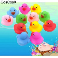 12pcs Kawaii Mini Colorful Rubber Float Squeaky Sound Duck Bath Toy Baby Bathroom Water Pool Funny Toys for Girls Boys Gifts