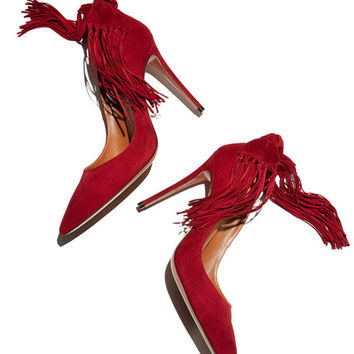 Aquazzura Fringe Tie Suede 105mm Pump, Pomegranate