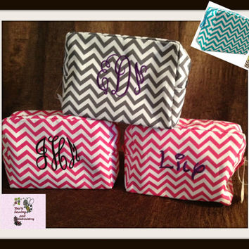 Microfiber Chevron Cosmetic Bags  in different colors available