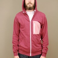 Lockwood red hoodie by SLVDR with contrasting zip pocket at the chest | shopcuffs.com
