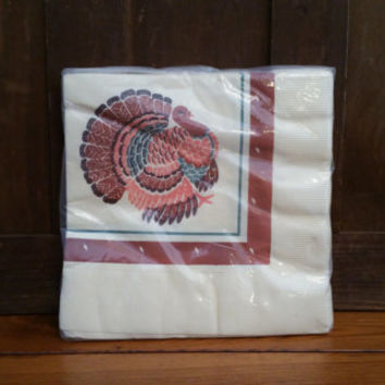 Vintage Thanksgiving Paper Dinner Napkins With Turkey New Old Stock American Greetings