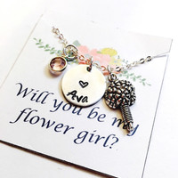 Flower Girl Necklace, Flower Girl Gift, Bridesmaid Necklace,Wedding Necklace, Wedding Jewelry, Handstamped, Will you be my flower girl