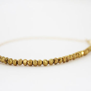 gold pyrite bracelet gemstone nugget and gold chain bracelet delicate 14 gold filled sparkly stackable