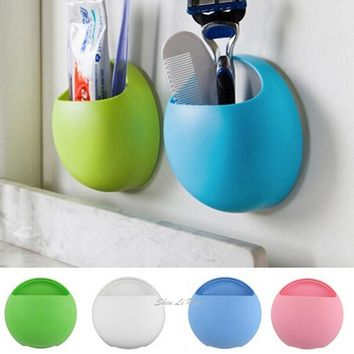2016 New Fashion Toothbrush Holder Bathroom Kitchen Family Toothbrush Suction Cups Holder Wall Stand Hook Cups Organizer