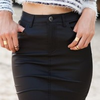 Coated Skirt Black - Bottoms - Clothes