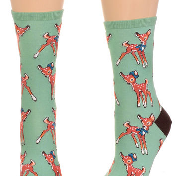 Fawn Over Me Retro Deer Socks in Mint Green