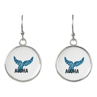 Aqua Blue TRIBAL WHALES TAIL Earrings