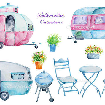 Hand painted watercolor blue caravan, pink caravan, barbeque printable instant download scrapbook