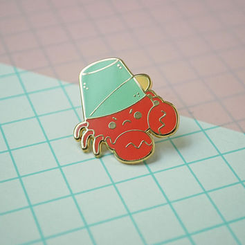 Crabby Bucket Head Enamel Pin