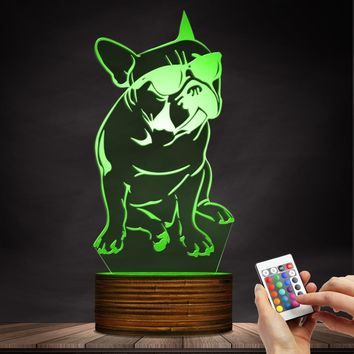 1Piece 3D French Bulldog LED Night Light Pet Puppy Dog With Sunglass Decorative Lighting Home Decor Color Changing Table Lamp