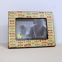 5x7 Wood Photo Frame Bright Fall Bunting READY TO SHIP