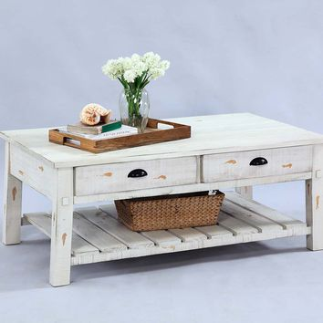 Willow Rustic Rectangular Cocktail Table Distressed White